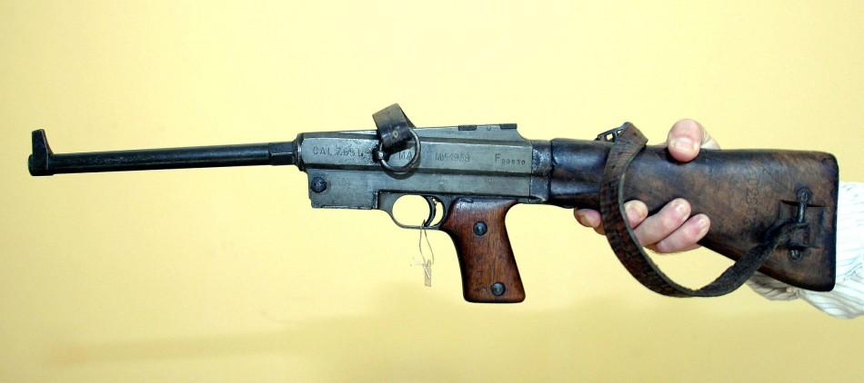 The French-made MAS sub-machine gun that killed Italy's Benito Mussolini in 1945 is pictured in Tirana August 4, 2004.