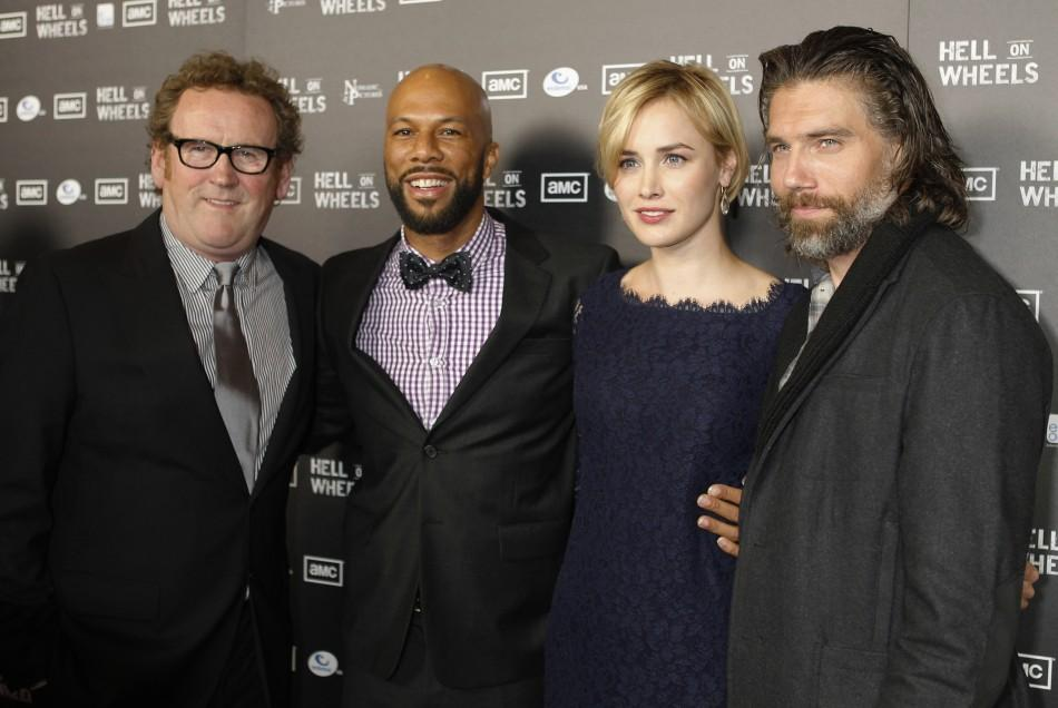 "Cast members (L-R) Colm Meaney, Common, Dominique McElligott and Anson Mount pose at the premiere screening of AMC cable channel's new series ""Hell on Wheels"" in Los Angeles"