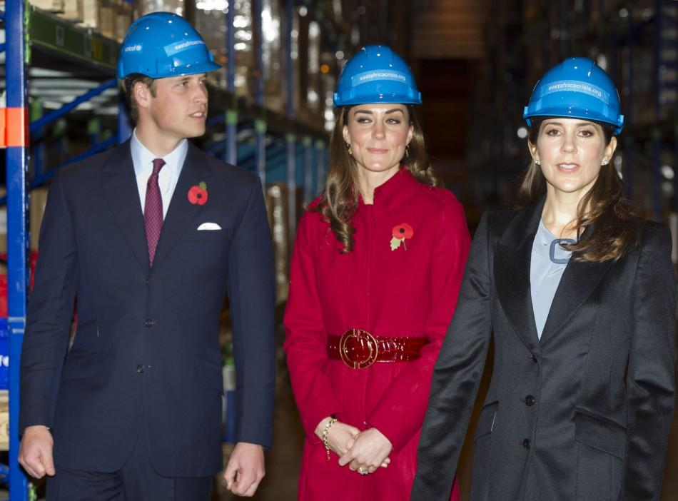 Britain's Prince William and Catherine, Duchess of Cambridge visit the UNICEF emergency supply centre with Denmark's Crown Princess Mary in Copenhagen