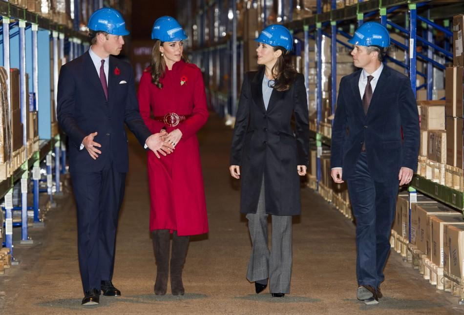 Britain's Prince William and his wife Catherine, Duchess of Cambridge visit the UNICEF emergency supply centre with Denmark's Crown Princess Mary and Prince Frederik in Copenhagen