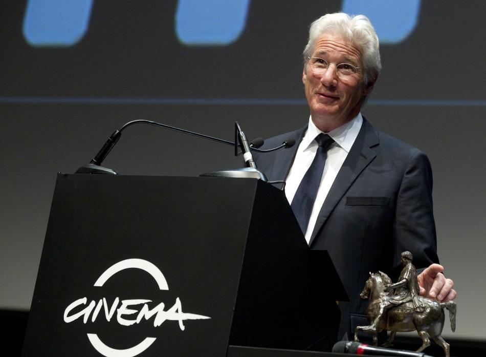 Richard Gere talks after receiving the Marcus Aurelius career award at the Rome Film Festival