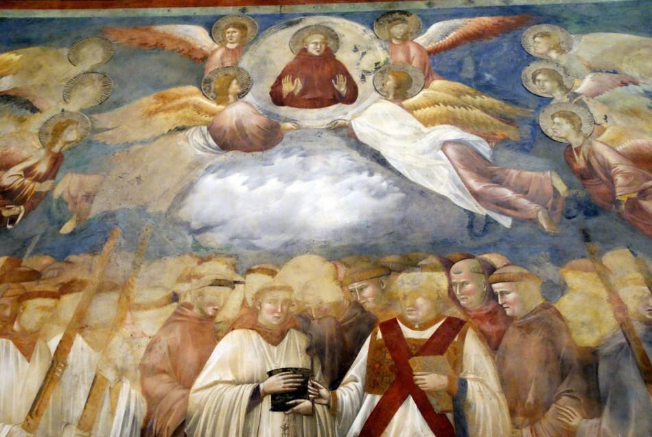 Handout of a detail of a fresco by Giotto in the Basilica of St Francis in Assisi