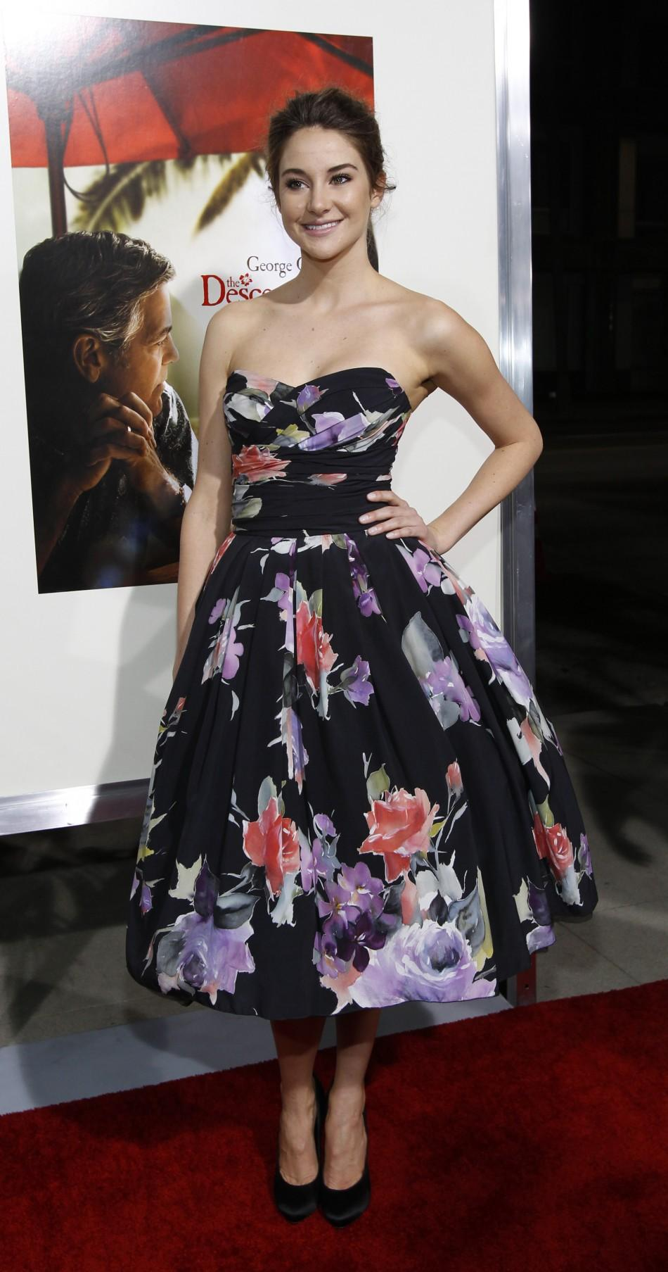 "Cast member Shailene Woodley poses at the premiere of ""The Descendants"" at the Samuel Goldwyn theatre in Beverly Hills, California"