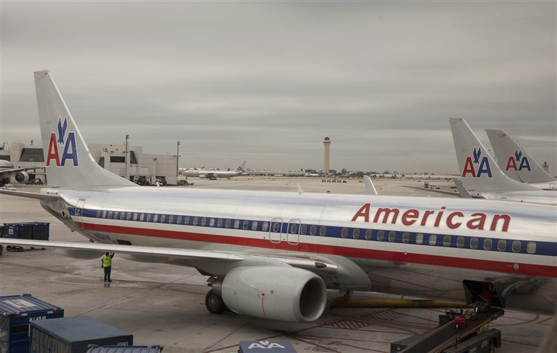 An American Airlines airplane at Miami International airport in Miami, Florida
