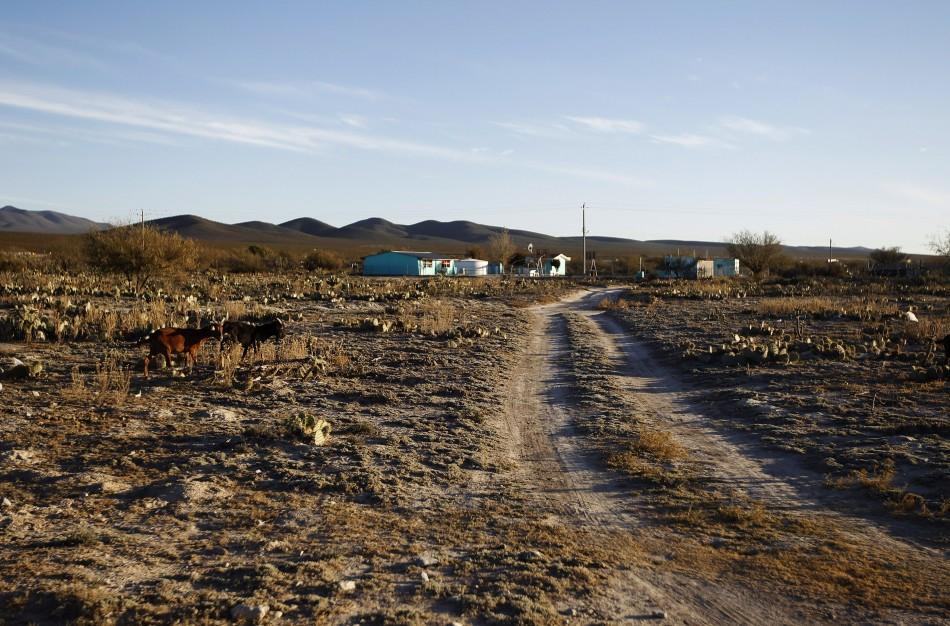 A view of a drought-affected rural settlement of El Refugio de los Ibarra in the municipality of Galeana