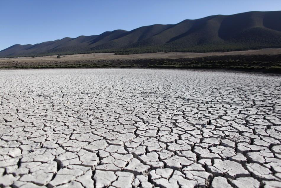 Cracks are seen in dry earth in San Isidro de Cienega