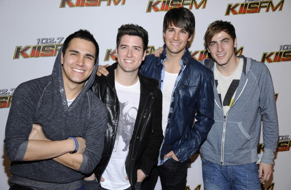 Carlos Pena Jr. (L-R), James Maslow, Logan Henderson, and Kendall Schmidt, of the the band Big Time Rush, attend the 102.7 KIIS FM's Jingle Ball 2011 in Los Angeles