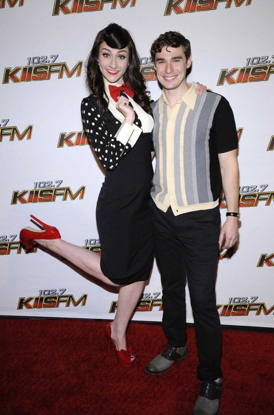Amy Heidemann (L) and Nick Noonan of the duo Karmin attend the 102.7 KIIS FM's Jingle Ball 2011 in Los Angeles