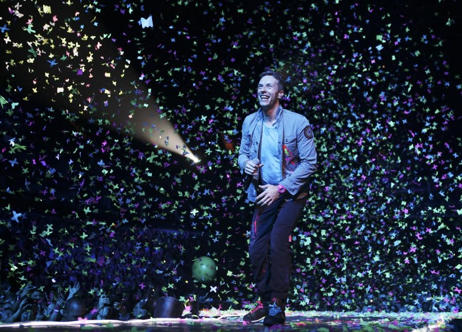 Chris Martin from Coldplay performs during the Under 1 Roof charity show at the O2 arena in Greenwich, London