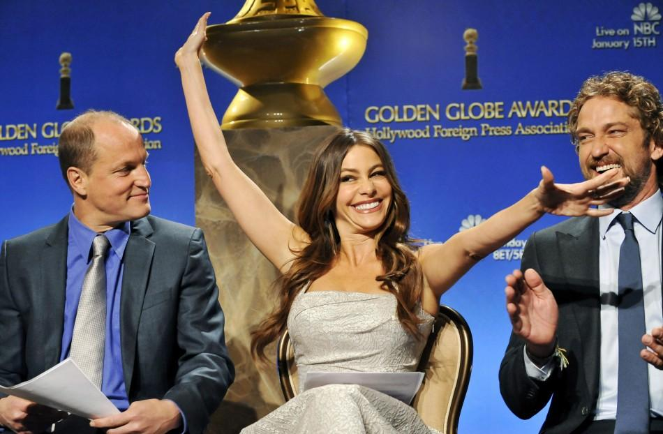 Columbian actress Sofia Vergara reacts after being nominated for the Best Performance by an Actress in a Supporting Role in a Series, Mini-Series or Motion Picture Made for Television during the nomination announcement for the 69th Annual Golden Globe Awa