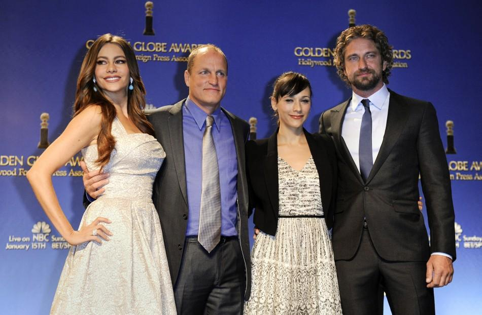 (L to R) Actors Sofia Vergara, Woody Harrelson, Rashida Jones and Gerard Butler pose during the nomination announcements for the 69th Annual Golden Globe Awards in the Beverly Hills, California
