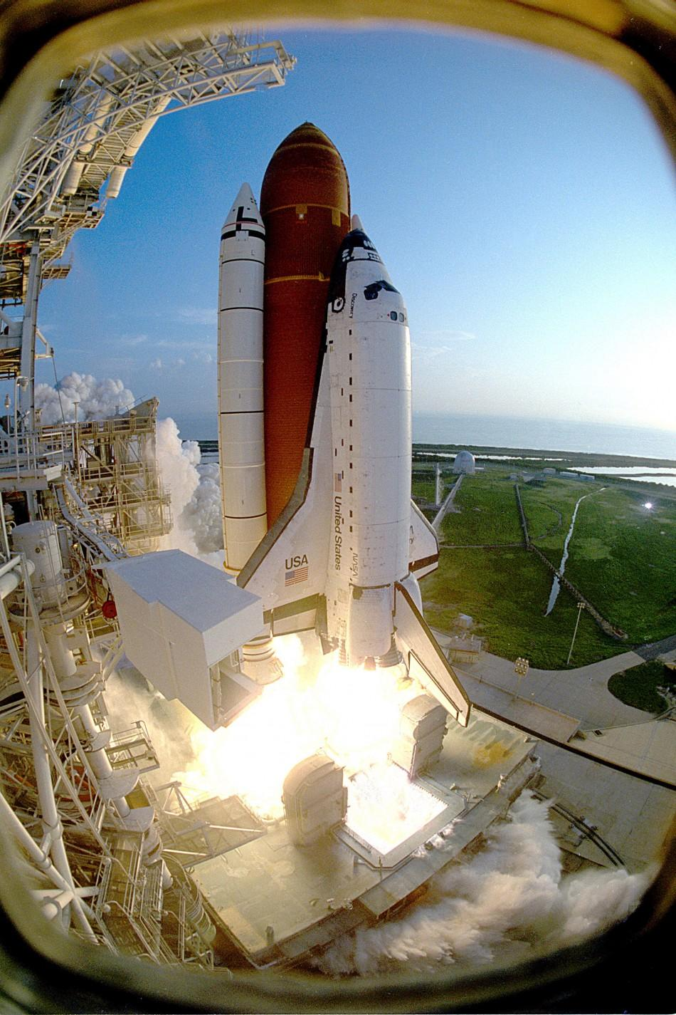 Discovery lifting off from Kennedy Space Center