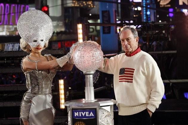 Singer Lady Gaga and New York City Mayor Michael Bloomberg activate the New Year's Eve ball during celebrations in Times Square in New York, December 31, 2011.