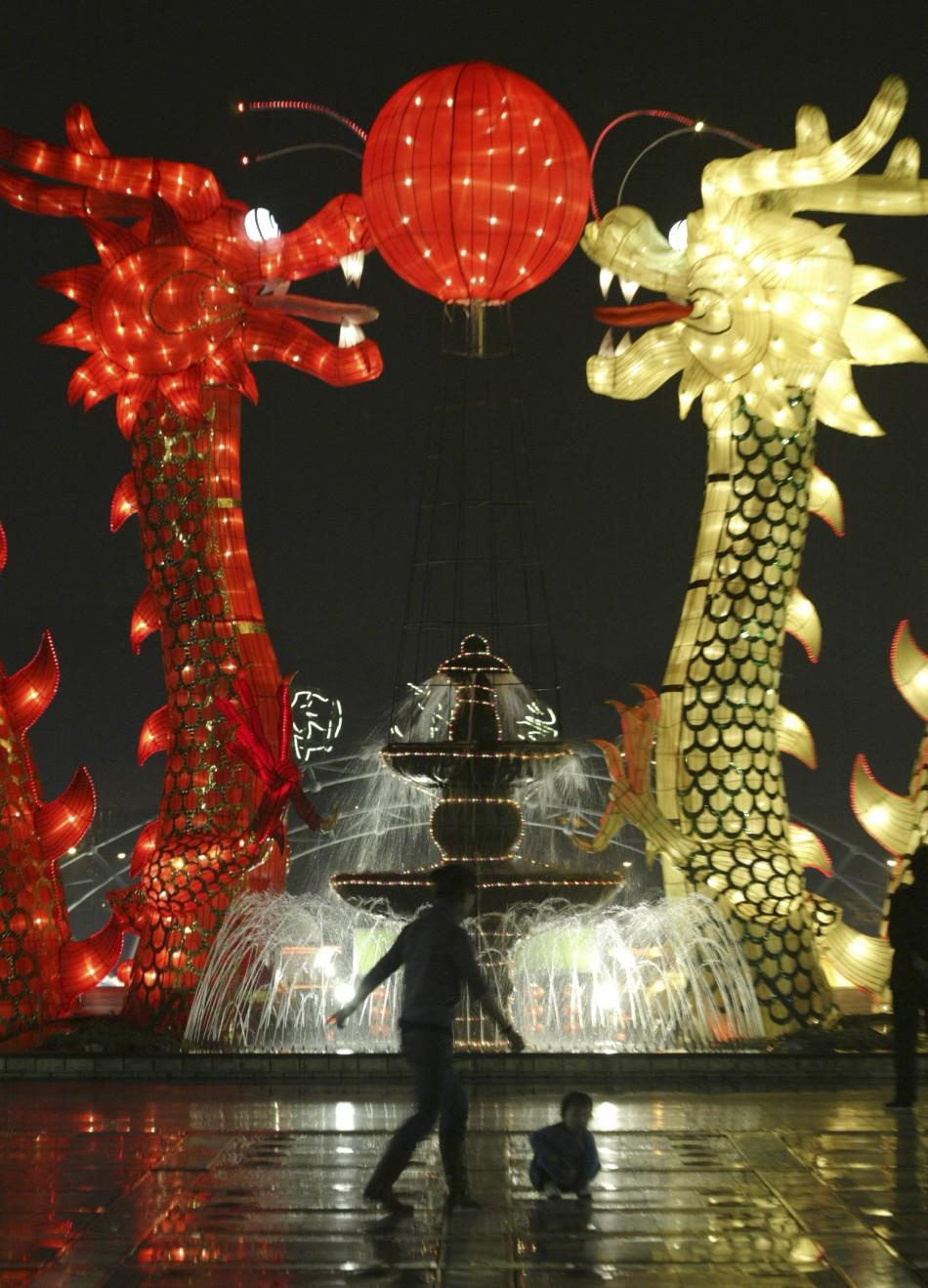 A dragon decoration is displayed at a park to celebrate Chinese New Year in Guangzhou