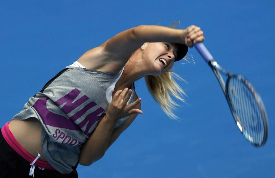 Maria Sharapova of Russia serves during a practice session before the Australian Open tennis tournament in Melbourne