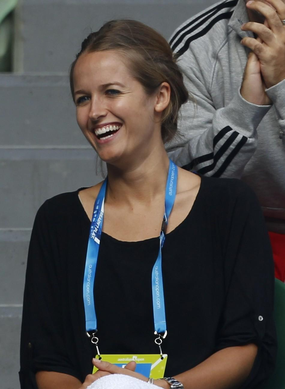 Kim Sears, girlfriend of Murray of Britain, watches his quarter-final match against Nishikori of Japan at the Australian Open tennis tournament in Melbourne