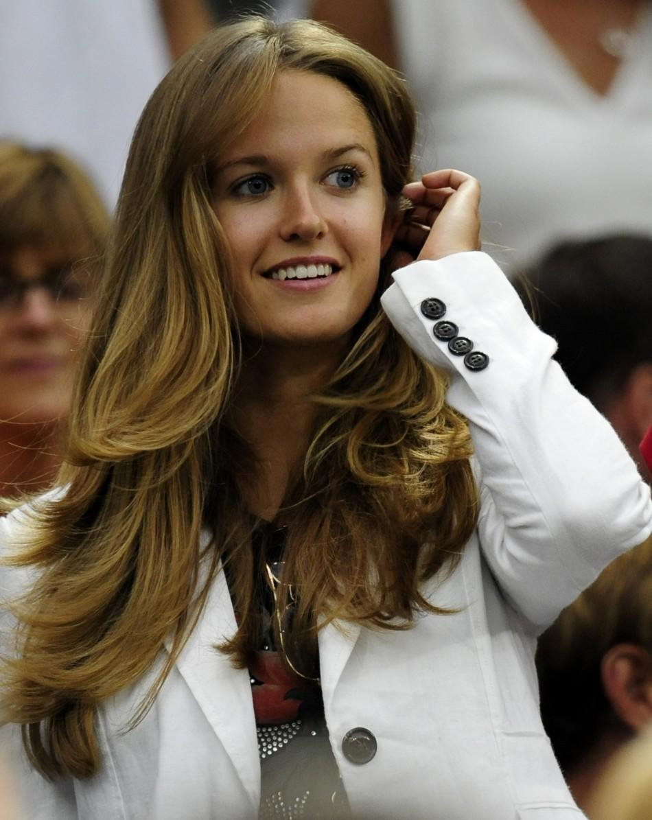 Kim Sears, watches from Centre Court at the Wimbledon tennis championships