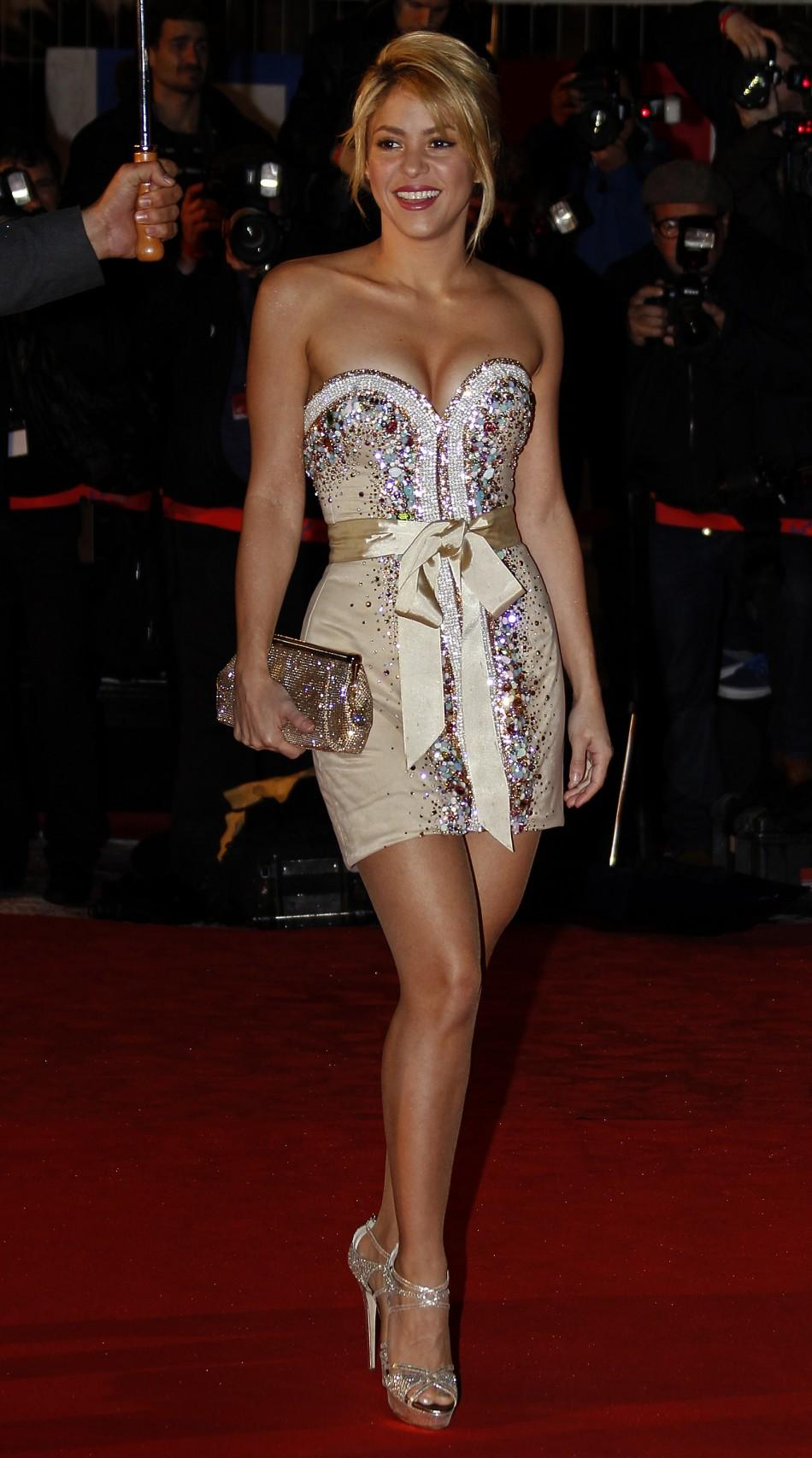Colombian singer Shakira arrives at the Cannes festival palace to attend the NRJ Music Awards in Cannes January 28,2012.
