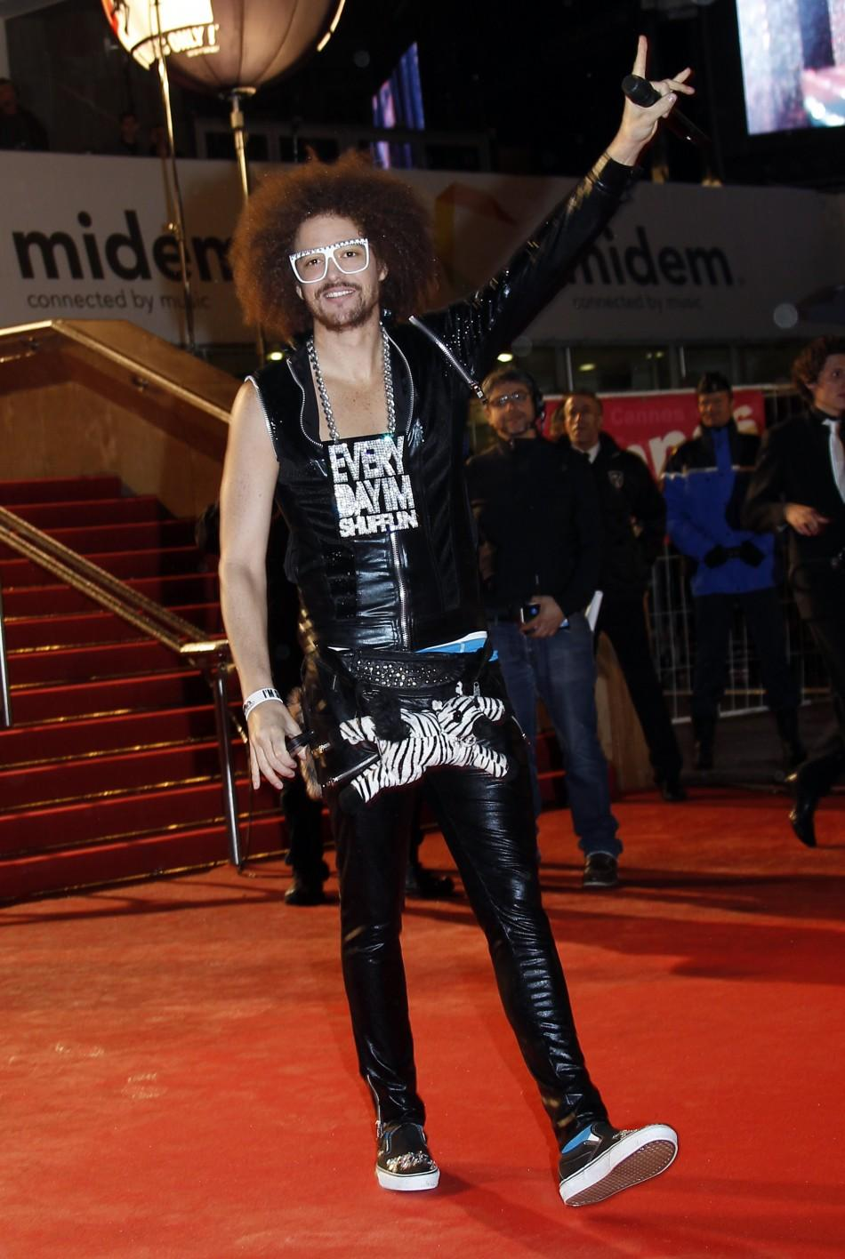 U.S. singer RedFoo of electro pop duo LMFAO arrives at the Cannes festival palace to attend the NRJ Music Awards in Cannes January 28, 2012.