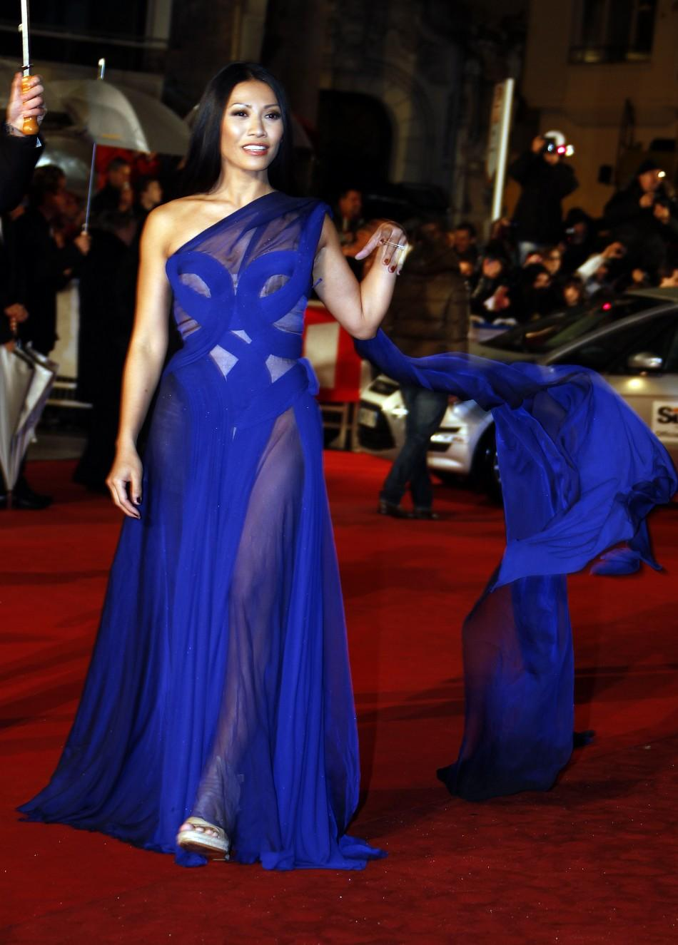 Indonesian singer Anggun arrives at the Cannes festival palace to attend the NRJ Music Awards in Cannes January 28,2012.