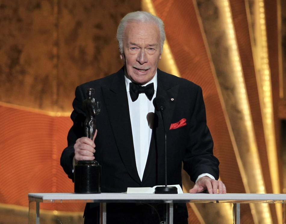 "Christopher Plummer accepts the award for outstanding performance by a male actor in a supporting role for ""Beginners"" at the 18th annual Screen Actors Guild Awards in Los Angeles, California January 29, 2012."