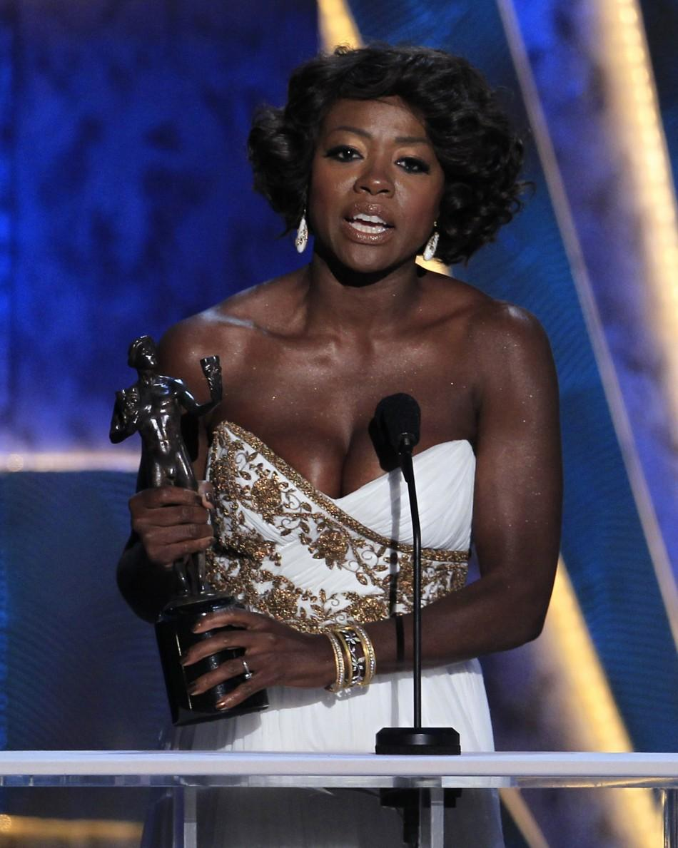 "Viola Davis accepts the award for outstanding performance by a female actor in a leading role for ""The Help,"" at the 18th annual Screen Actors Guild Awards in Los Angeles, California, January 29, 2012."