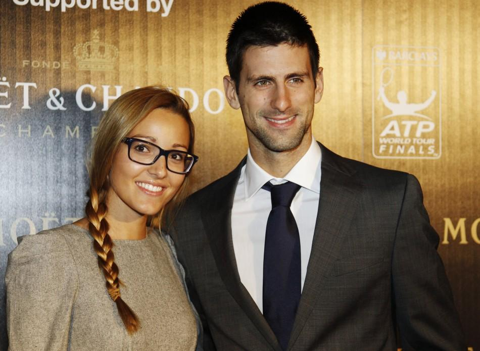 Serbian tennis player Novak Djokovic and his girlfriend Jelena Ristic arrive for the ATP World Tour Gala in London