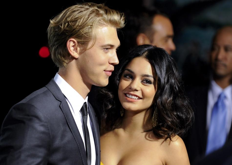 "Actors Austin Butler and Vanessa Hudgens (R) arrive at the Hollywood premiere of ""Journey 2: The Mysterious Land"" in Los Angeles, California"