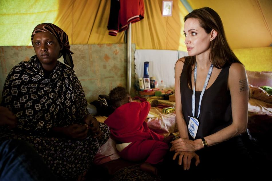 Jolie visiting Somali refugees at Shousha Camp, near the Tunis-Libyan border, at Ras Djir