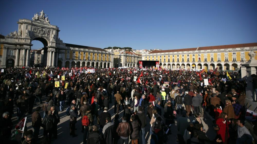 Portugal: Tens of thousands spill into Lisbon's central Terrero do Paco square to protest the government's austerity measures Saturday.