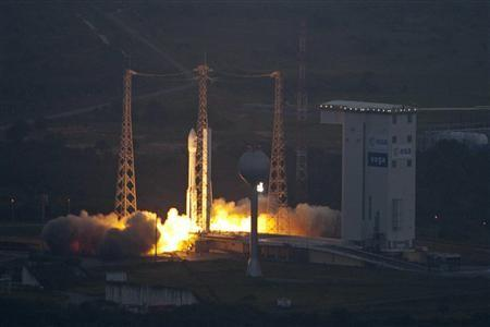 Europe's first Vega rocket lifts off from the European Space Agency (ESA) launch centre in Kourou, French Guiana, February 13, 2012. The Vega rocket blasted off from French Guiana on Monday in an inaugural flight aimed at giving Europe a vehicle for