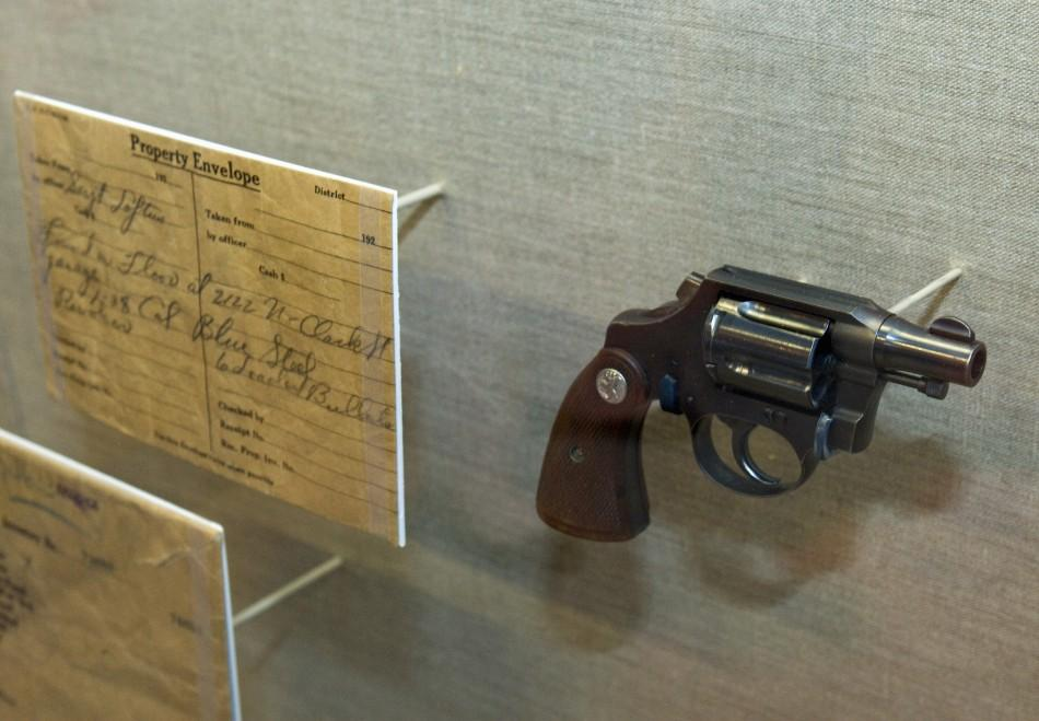 A revolver is displayed during a media preview tour of The Mob Museum in Las Vegas