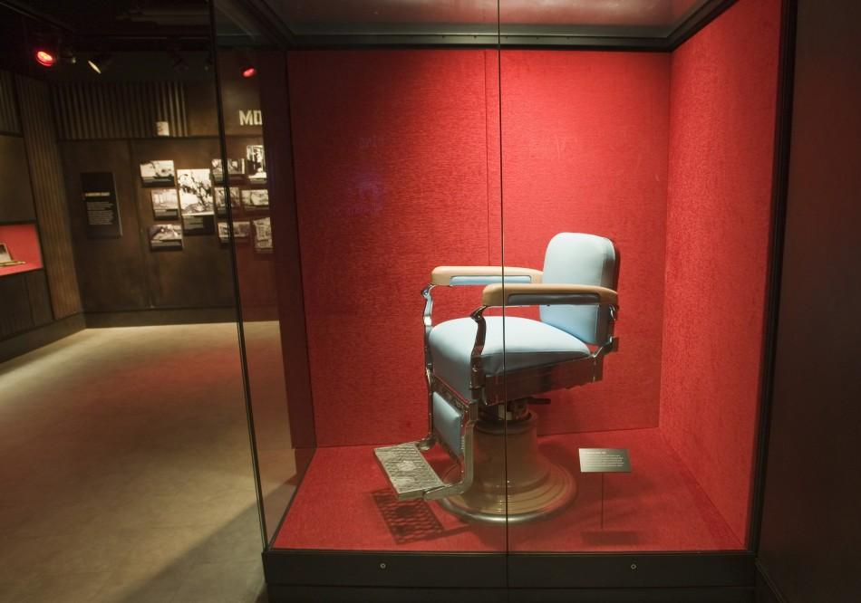 The barber chair, in which mobster Anastasia was assassinated, is displayed in The Mob Museum in Las Vegas