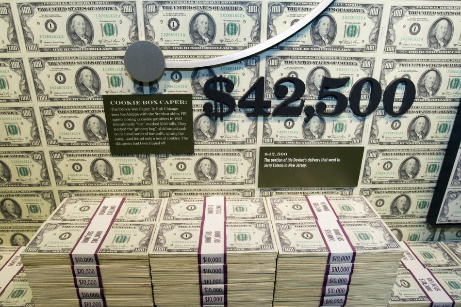 "Stacks of fake money are displayed in the ""Skim Room"" at The Mob Museum in Las Vegas"