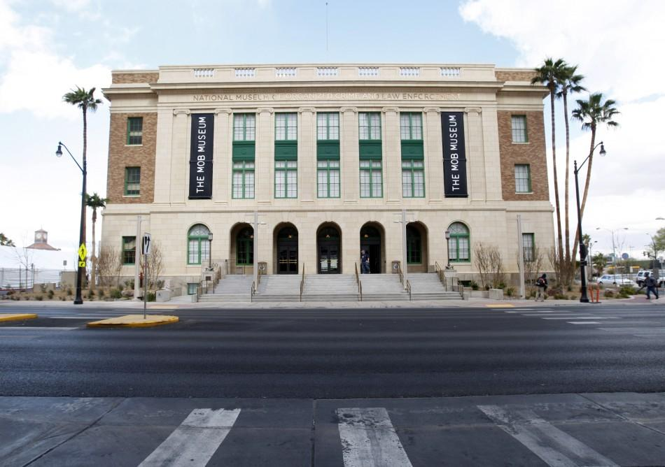An exterior view of The Mob Museum in Las Vegas