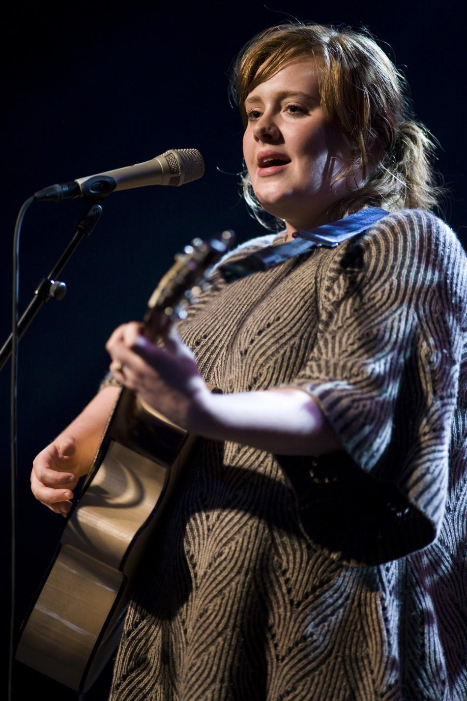 British singer Adele performs at the 42nd Montreux Jazz Festival