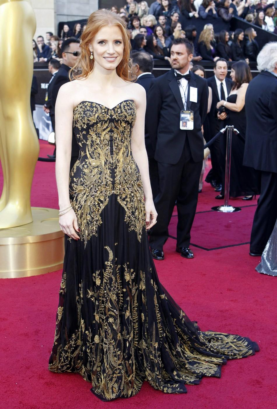 "Jessica Chastain, best supporting actress nominee for her role in ""The Help"", arrives at the 84th Academy Awards in Hollywood, California February 26, 2012."