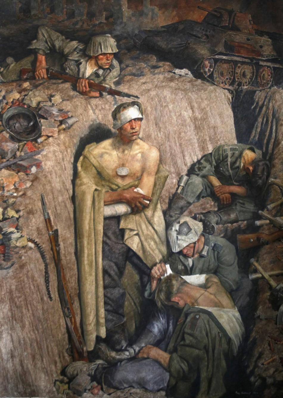 """""""Reminiscence on Stalingrad"""" by German painter Eichhorst, a part of Adolf Hitler's private art collection, at the Doksany Monastery near Prague"""