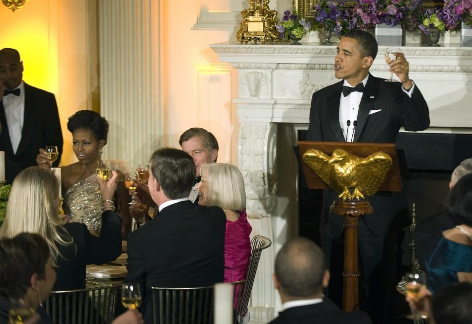 Michelle Obama's Asymmetric Gown At Governor's Dinner Outshines Oscar Red Carpet Looks