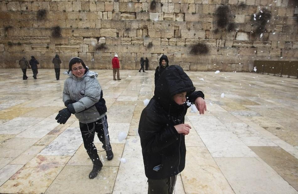 Snow at Western Wall