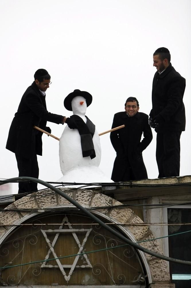 Snow in Mea Shearim Neighborhood
