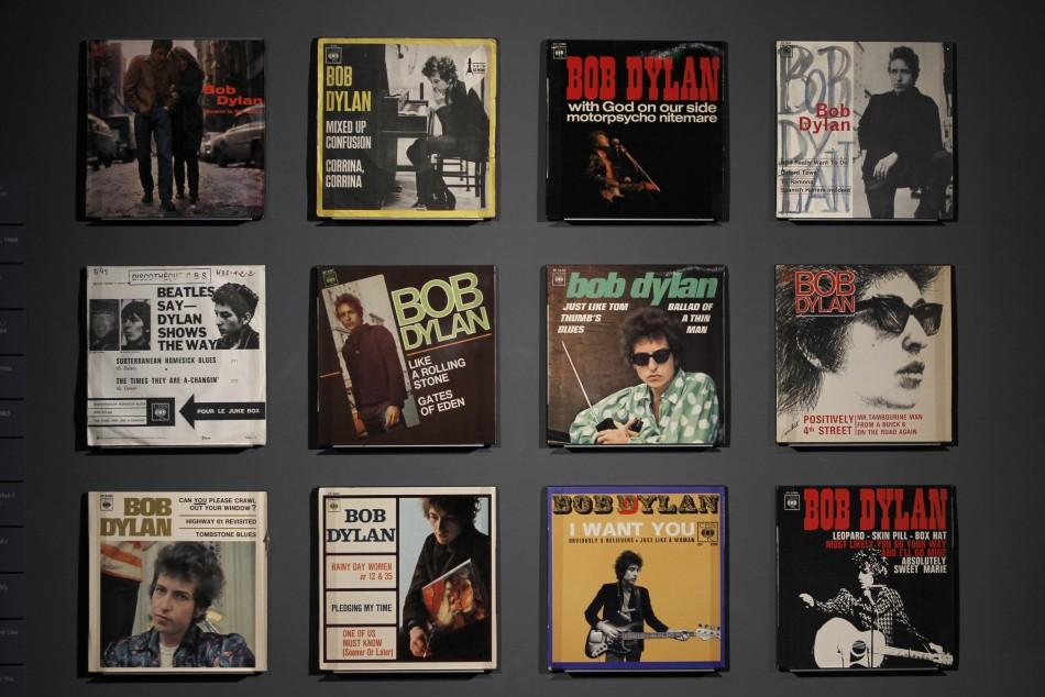 """Covers of music record are displayed during the exhibition """"Bob Dylan, the rock explosion"""" at the museum of the Cite de la Musique in Paris"""