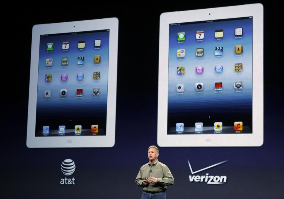 Apple's senior VP of Worldwide Marketing Schiller talks about telecom partners for the 4G LTE service on the new iPad during an Apple event in San Francisco