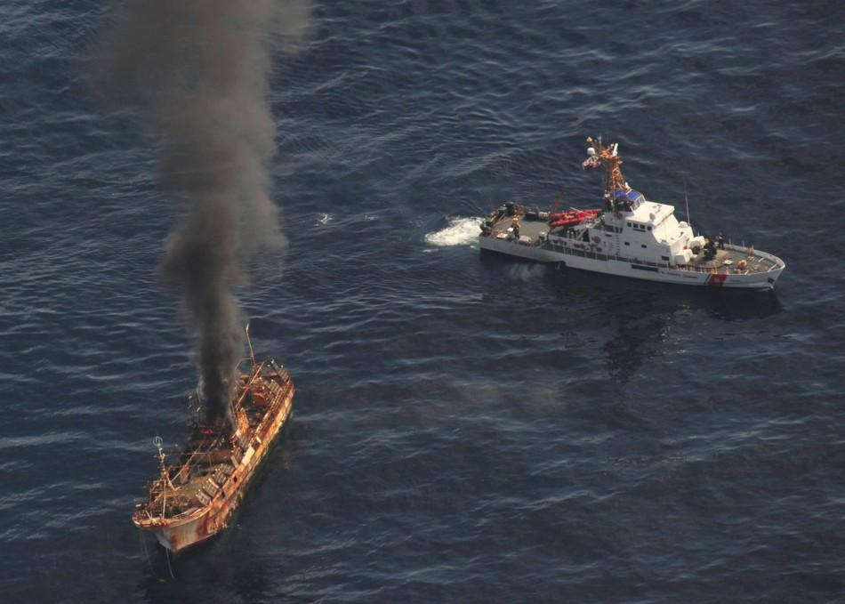 US Coast Guard Canon Fire Sinks Japanese Ghost Ship Adrift Since Tsunami [PHOTOS]