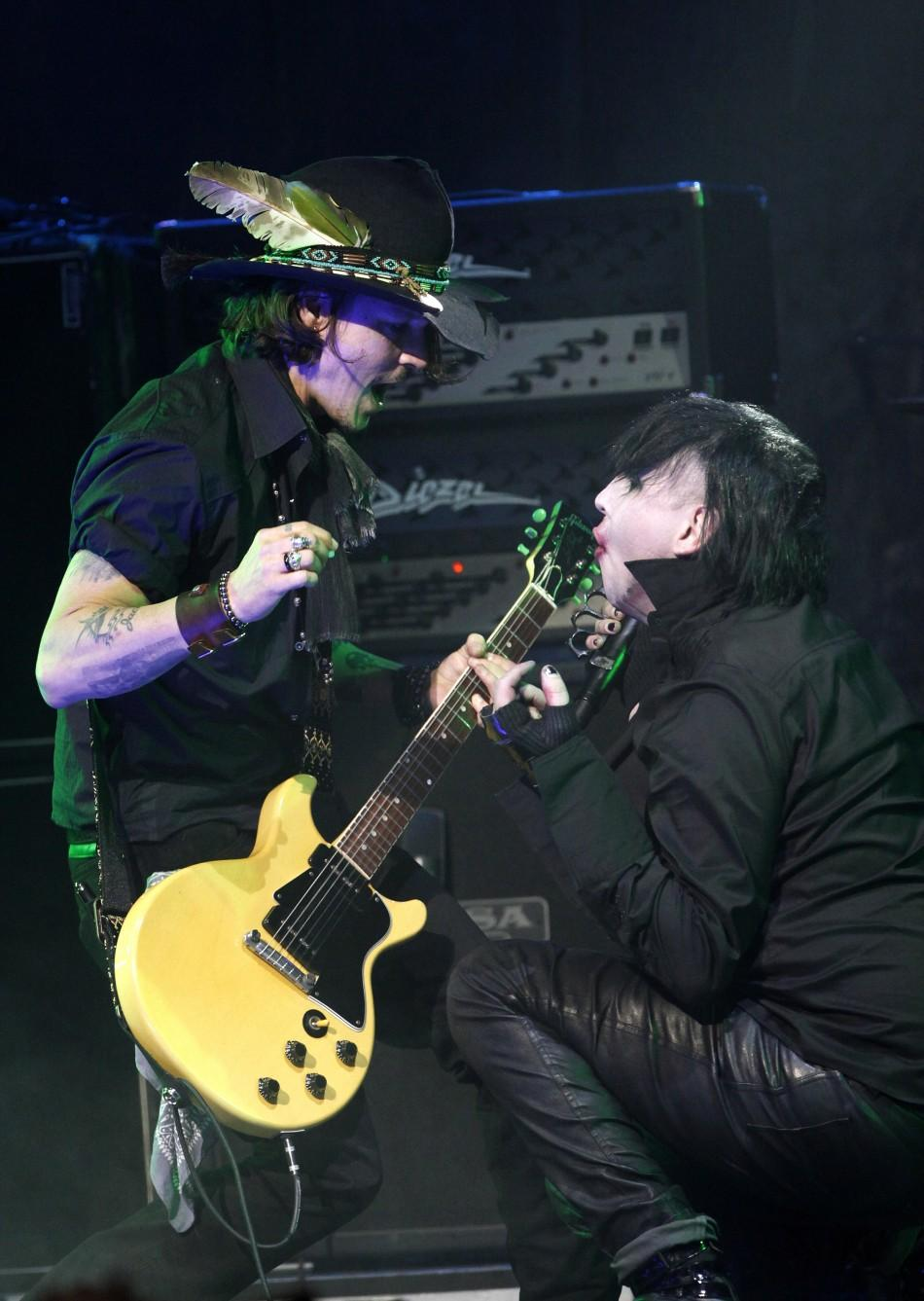 Johnny Depp and Marilyn Manson perform togther