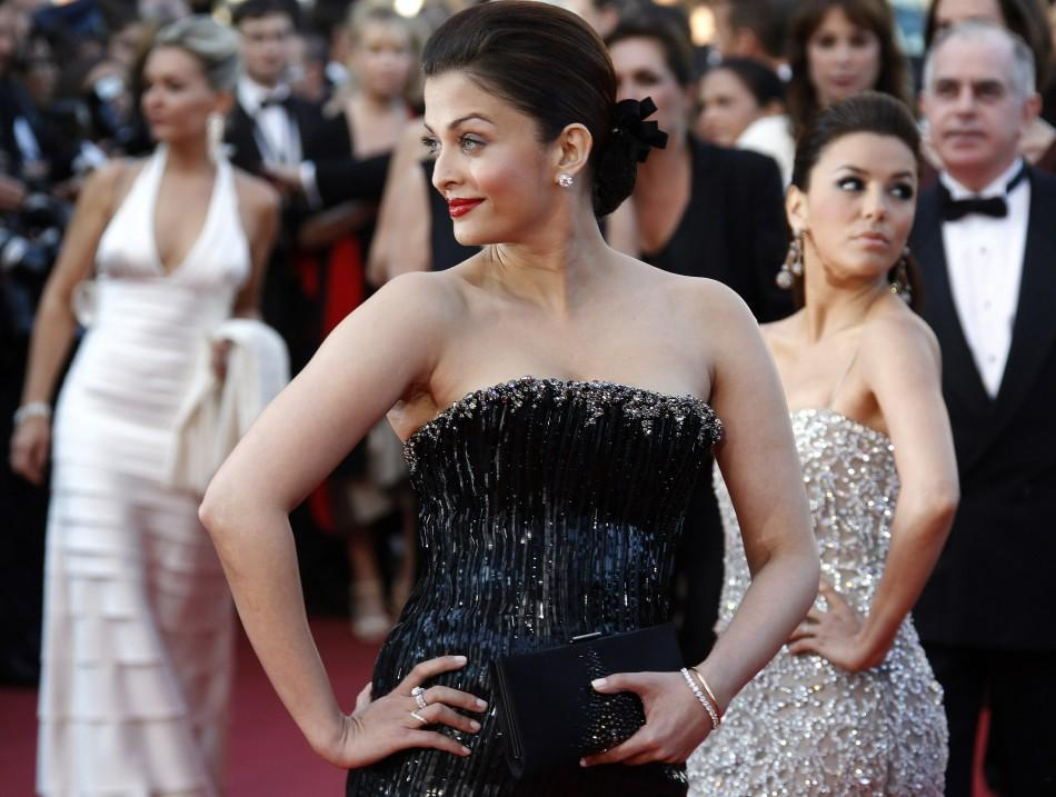 "Actress Aishwarya Rai arrives on the red carpet for the screening of ""Tournee"" in competition by director Mathieu Amalric at the 63rd Cannes Film Festival 2010"