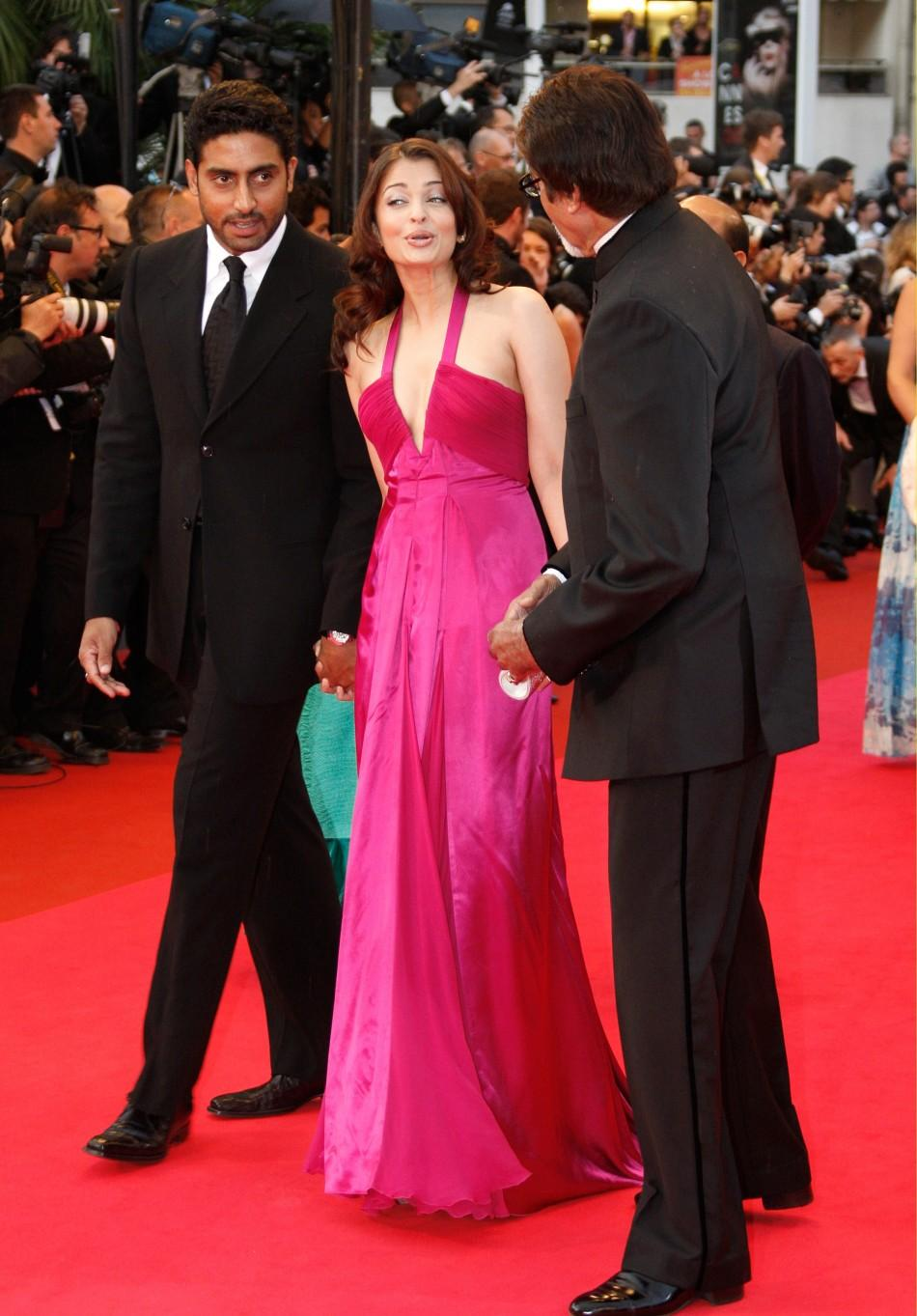 "Indian actors Aishwarya Rai and Abhishek Bachchan arrive for screening of ""Vicky Cristina Barcelona"" at 61st Cannes Film Festival 2008"