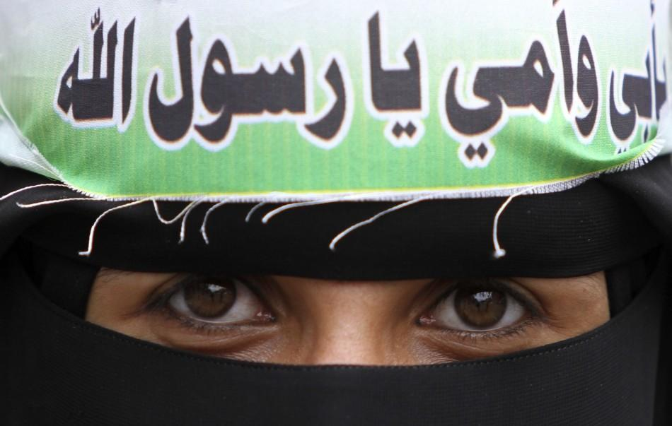 A female demonstrator at anti-U.S. protests in Sanaa, Yemen.