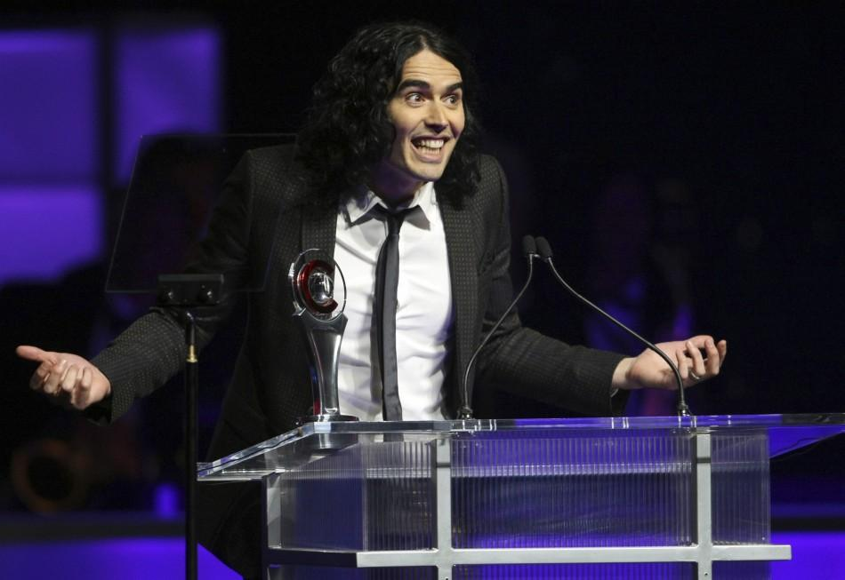 British actor Russell Brand accepts his award for Comedy Star of the Year during CinemaCon in Las Vegas