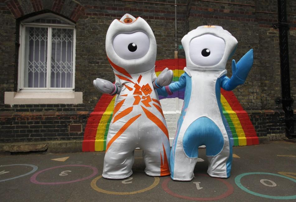 The 2012 Olympic mascot Wenlock (L) and Paralympic mascot Mandeville